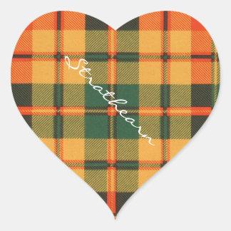 Strathearn clan Plaid Scottish tartan Heart Sticker