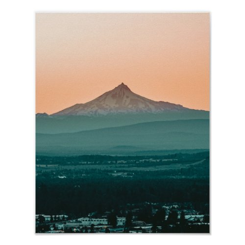 Stratovolcano Sunset // Teal Rolling Hills