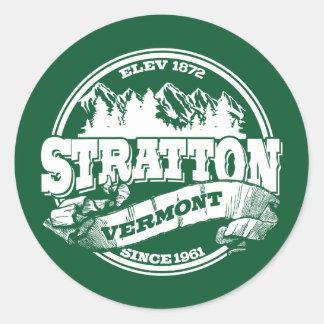 Stratton Old Circle Green Round Sticker