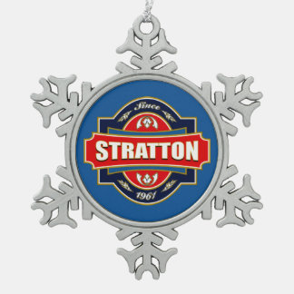 Stratton Old Label Snowflake Pewter Christmas Ornament