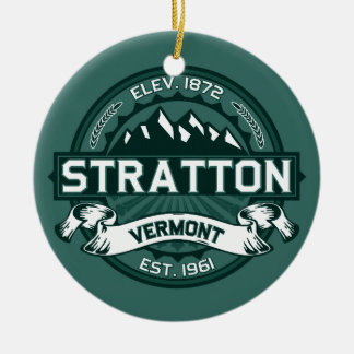"""Stratton """"Vermont Green"""" Double-Sided Ceramic Round Christmas Ornament"""