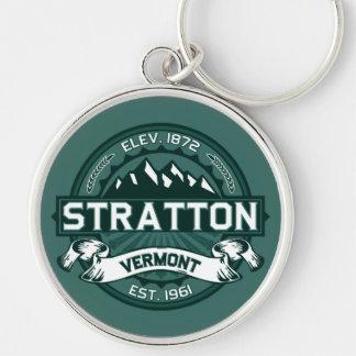 """Stratton """"Vermont Green"""" Silver-Colored Round Keychain"""