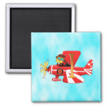 Stratus Janice Flying w/ clouds 2 Inch Square Magnet