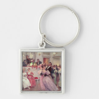 Strauss and Lanner - The Ball, 1906 Silver-Colored Square Keychain