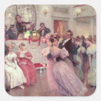 Strauss y Lanner - la bola, 1906 Pegatina Cuadrada