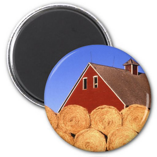 Straw Bales next to a Barn 2 Inch Round Magnet
