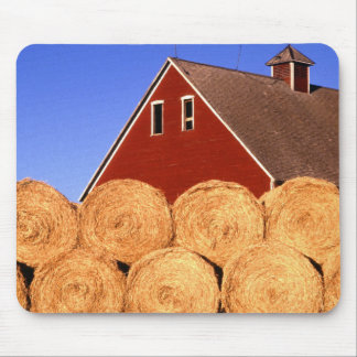 Straw Bales next to a Barn Mouse Pad