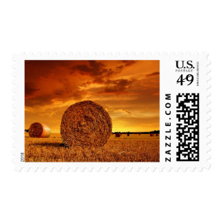 Straw bales on farmland with red cloudy sky postage