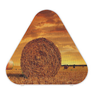 Straw bales on farmland with red cloudy sky speaker