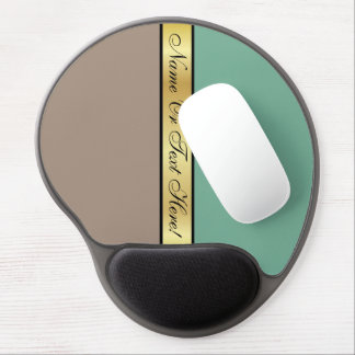 Straw Brown & Spearmint Green Golden Custom Name Gel Mouse Pad