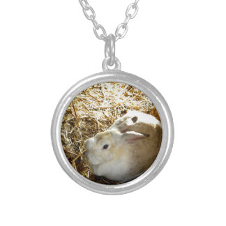Straw Bunny Silver Plated Necklace