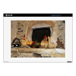 Straw chickens and fruit on mantelpiece, Spain Decal For Laptop