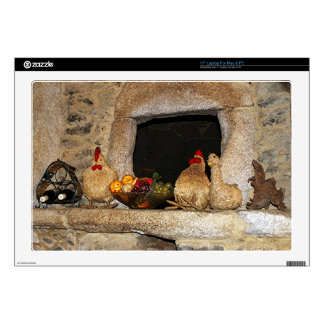 Straw chickens and fruit on mantelpiece, Spain Laptop Decal