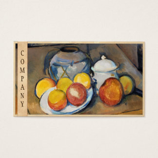 STRAW-COVERED VASE, SUGAR BOWL AND APPLES, BUSINESS CARD