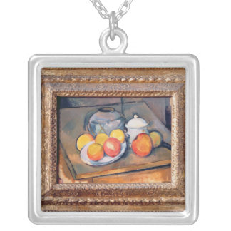 Straw-covered vase, sugar bowl and apples silver plated necklace