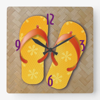 straw & flip-flop time square wall clock