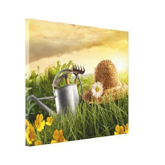 Straw Hat in Meadow Photo Canvas Art