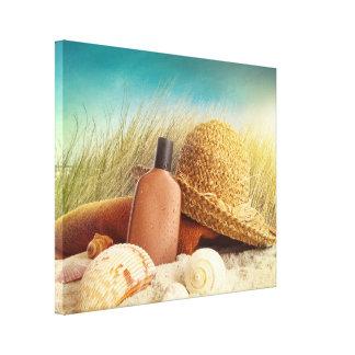 Straw Hat on Beach Photo Canvas Art