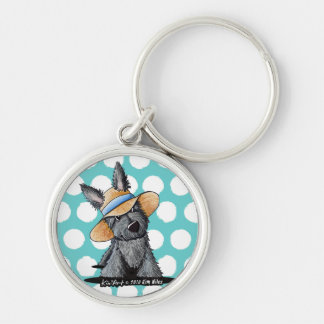Straw Hat Scottie Dog Keychain