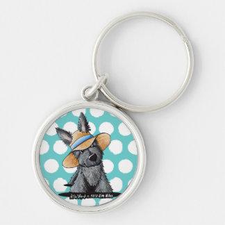 Straw Hat Scottie Dog Keychains