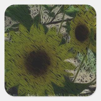 """Straw"" Sunflowers Square Sticker"