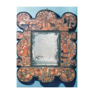 Straw-work mirror frame, 1670-80 stretched canvas print
