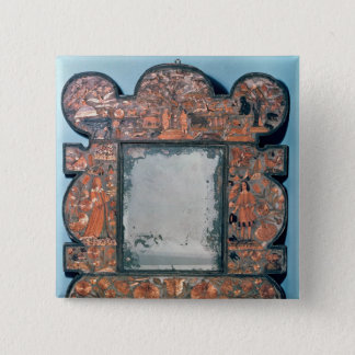 Straw-work mirror frame, 1670-80 pinback button