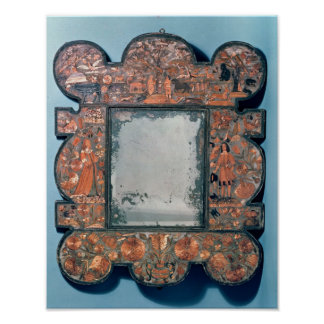 Straw-work mirror frame, 1670-80 posters