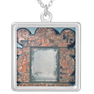 Straw-work mirror frame, 1670-80 silver plated necklace