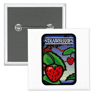 Strawberries 2 Inch Square Button