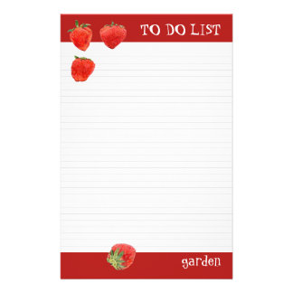 Strawberries 4our To Do List Stationery Design