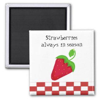 Strawberries Always in Season 2 Inch Square Magnet