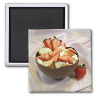 Strawberries and Chocolate Bowl Magnet