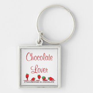 Strawberries and Chocolate Silver-Colored Square Keychain