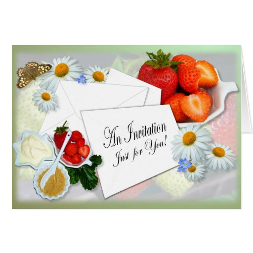 Strawberries and Cream ~ Invitation Card