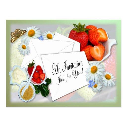 Strawberries and Cream ~ Invitation Postcard