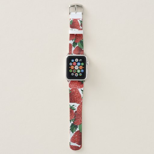 Strawberries and Cream Pattern Apple Watch Band