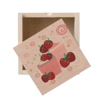 Strawberries And Cupcakes Art Wooden Keepsake Box