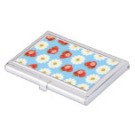 Strawberries and daisies business card case