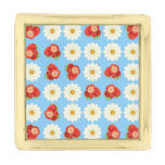 Strawberries and daisies gold finish lapel pin