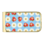 Strawberries and daisies gold finish money clip