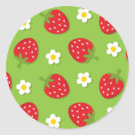 Strawberries and Daisies on Green (2) Classic Round Sticker