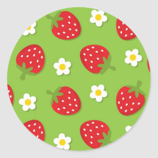 Strawberries and Daisies on Green (2) Sticker