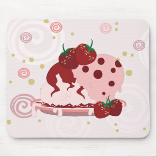 Strawberries And Ice Cream Art Mouse Pad