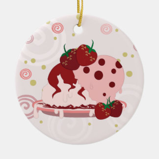 Strawberries And Ice Cream Art With Pattern Ceramic Ornament