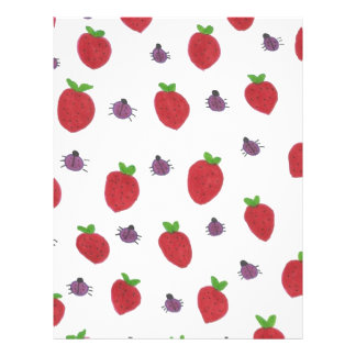 Strawberries and Lady Bugs Fruity Pattern Letterhead