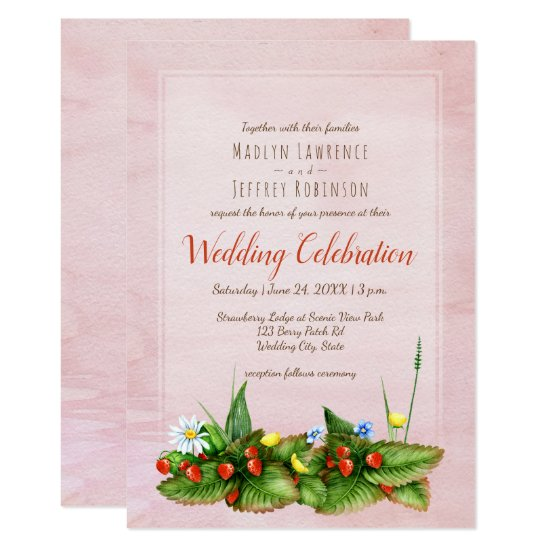 Strawberries and meadow flowers blush wedding card
