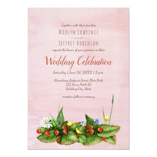 Strawberries and meadow flowers blush wedding invitation