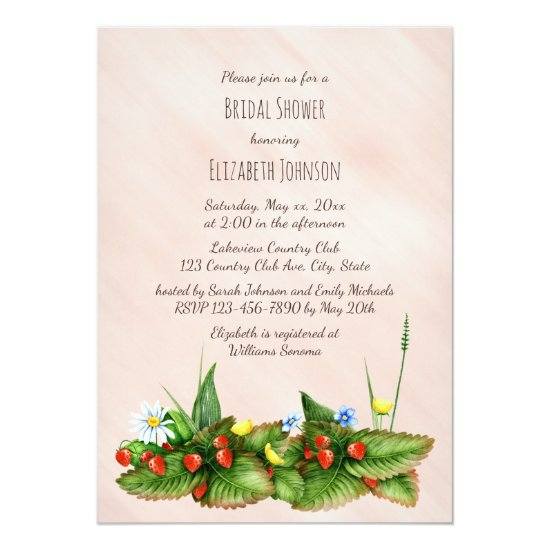 Strawberries and meadow flowers bridal shower card