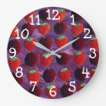 Strawberries and Plums Red Fruit Painting Large Clock
